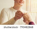 close up handsome man putting... | Shutterstock . vector #793482868