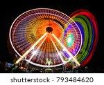 amusement part at night | Shutterstock . vector #793484620