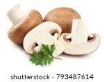 fresh champignon mushrooms... | Shutterstock . vector #793487614