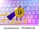 gold bitcoin coin with painted... | Shutterstock . vector #793489228