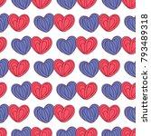 hearts seamless pattern in pink ... | Shutterstock .eps vector #793489318