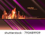 abstract modern night city... | Shutterstock .eps vector #793489939