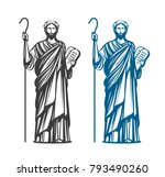 moses holds in hand two stone... | Shutterstock .eps vector #793490260