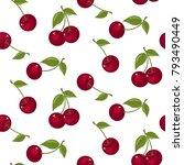 cute cherry seamless pattern.... | Shutterstock .eps vector #793490449