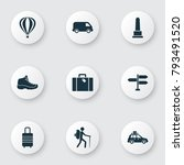 exploration icons set with... | Shutterstock .eps vector #793491520