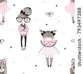 cute little girls pattern ...   Shutterstock .eps vector #793497388