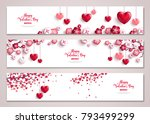 Stock vector happy valentine s day horizontal banners set with tree and hearts vector illustration holiday 793499299