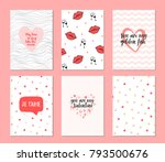 set of 6 cards for valentine's... | Shutterstock .eps vector #793500676