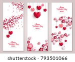 Stock vector happy valentine s day vertical banners set with tree and hearts vector illustration holiday 793501066