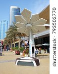 Small photo of DUBAI, UAE - NOVEMBER 17: The Smart Palm is on Dubai Motor Show 2017 on November 17, 2017. It can generate around 7.2 kilowatt hours per day, allow people access Wi-Fi, and charge their phones