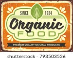organic food retro sign poster... | Shutterstock .eps vector #793503526