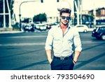 one handsome elegant young man... | Shutterstock . vector #793504690