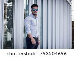 one handsome elegant young man...   Shutterstock . vector #793504696