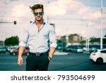 one handsome elegant young man... | Shutterstock . vector #793504699