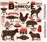 Bbq Retro Card.animal Cuts.all...