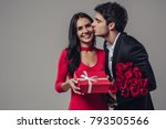 beautiful romantic couple... | Shutterstock . vector #793505566
