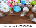 painted easter eggs with... | Shutterstock . vector #793508344