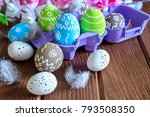painted easter eggs with... | Shutterstock . vector #793508350