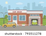car wash station and two cars...   Shutterstock .eps vector #793511278