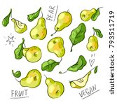 set illustration with pears and ... | Shutterstock .eps vector #793511719