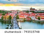 prague historical center with... | Shutterstock . vector #793515748