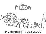 pizza menu background. one line ...   Shutterstock .eps vector #793516096