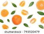orange or tangerine with mint... | Shutterstock . vector #793520479