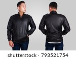 blank leather jacket mock up ... | Shutterstock . vector #793521754