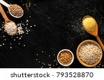 various groats  cereals.... | Shutterstock . vector #793528870