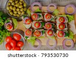 sandwiches with herring. canap  ... | Shutterstock . vector #793530730