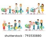 flat happy parents and children ... | Shutterstock .eps vector #793530880