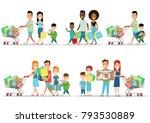 flat happy parents and children ... | Shutterstock .eps vector #793530889