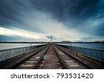 rail road through the bridge...   Shutterstock . vector #793531420