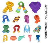 scarf and shawl cartoon icons... | Shutterstock .eps vector #793533829