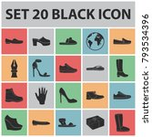 a variety of shoes black icons... | Shutterstock .eps vector #793534396