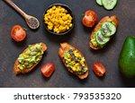 toasts with avocado  corn...   Shutterstock . vector #793535320