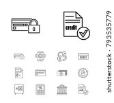 banking icons set with currency ...