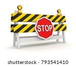 Roadblock With Stop Symbol  ...
