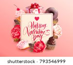 valentine s day background with ... | Shutterstock .eps vector #793546999