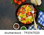 eggs with tomatoes  pepper and...   Shutterstock . vector #793547020