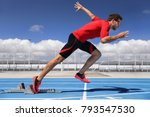 runner athlete starting running ... | Shutterstock . vector #793547530