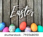 happy easter calligraphy text...   Shutterstock . vector #793568050