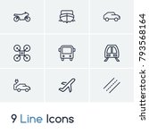 subway and vehicle icon line...
