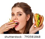 woman eating french fries and... | Shutterstock . vector #793581868