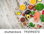 selection of fresh fruit and... | Shutterstock . vector #793590373