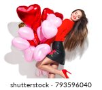 valentine beauty girl with... | Shutterstock . vector #793596040