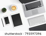 modern workspace with coffee... | Shutterstock . vector #793597396