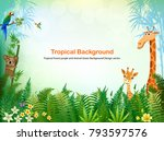 jungle or zoo themed animal... | Shutterstock .eps vector #793597576