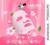sakura nature serum  collagen... | Shutterstock .eps vector #793602190