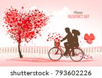 valentine's day background with ... | Shutterstock .eps vector #793602226